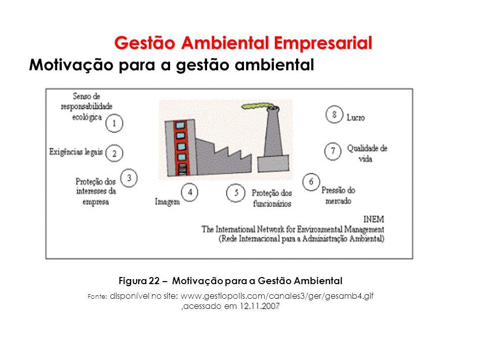 Gestão Ambiental Empresarial Motivação para a gestão ambiental Figura 22 – Motivação para a Gestão Ambiental 12.11.2007 Fonte: disponível no site: www