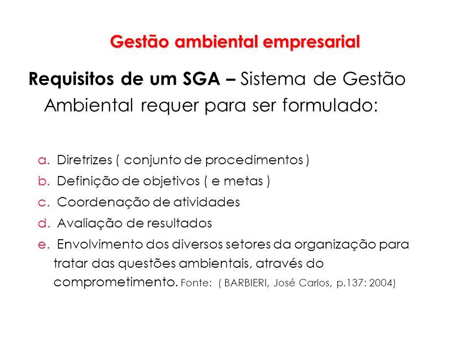 Gestão ambiental empresarial Requisitos de um SGA – Sistema de Gestão Ambiental requer para ser formulado: a. Diretrizes ( conjunto de procedimentos )
