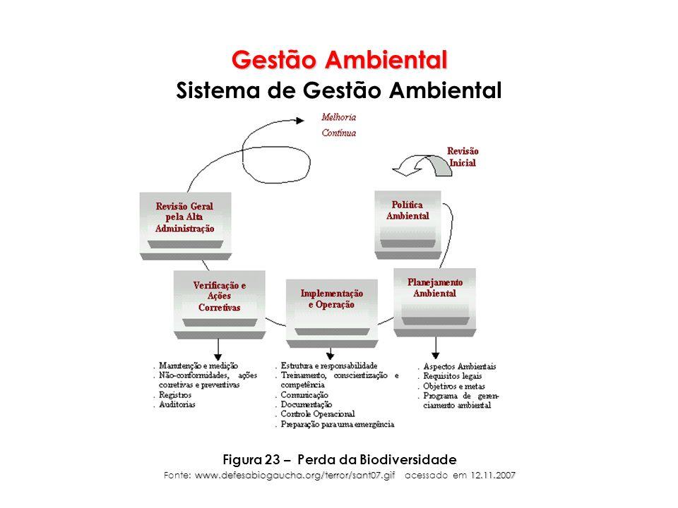 Gestão Ambiental Sistema de Gestão Ambiental Figura 23 – Perda da Biodiversidade www.defesabiogaucha.org/terror/sant07.gif12.11.2007 Fonte: www.defesa