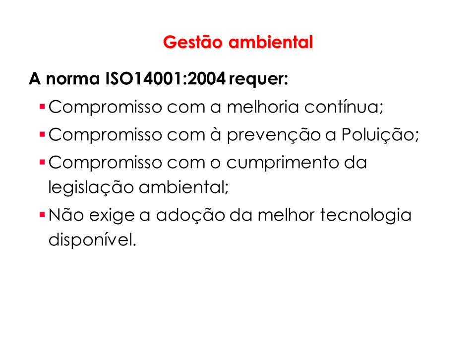 Gestão ambiental A norma ISO14001:2004 requer: Compromisso com a melhoria contínua; Compromisso com à prevenção a Poluição; Compromisso com o cumprime