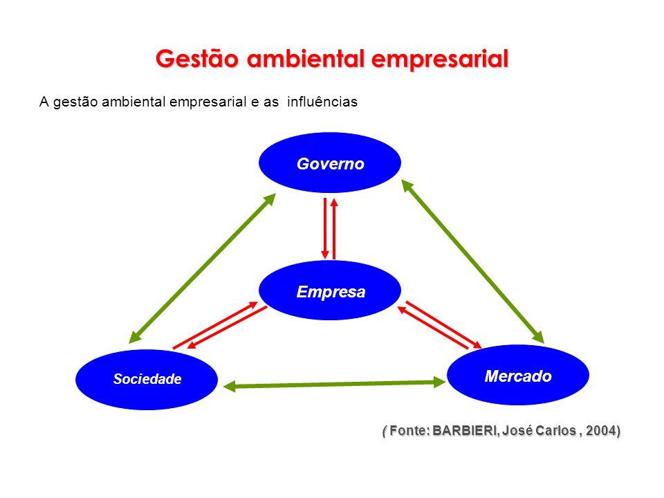 ( Fonte: BARBIERI, José Carlos, 2004) Governo Empresa Sociedade Mercado Gestão ambiental empresarial A gestão ambiental empresarial e as influências