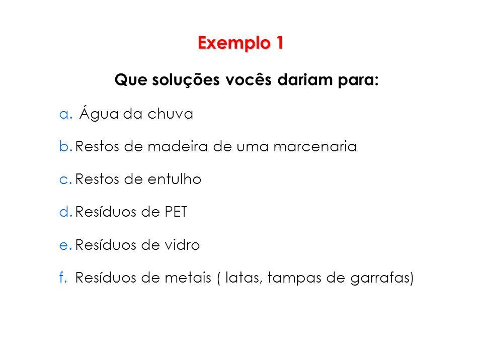Exemplo 1 Que soluções vocês dariam para: a. Água da chuva b.Restos de madeira de uma marcenaria c.Restos de entulho d.Resíduos de PET e.Resíduos de v
