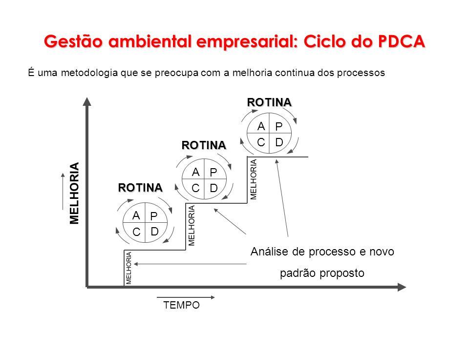 TEMPO MELHORIA Análise de processo e novo padrão proposto P D C A P D C A P D C A ROTINA ROTINAROTINA MELHORIA Gestão ambiental empresarial: Ciclo do