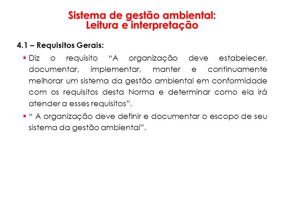 Sistema de gestão ambiental: Leitura e interpretação 4.1 – Requisitos Gerais: Diz o requisito A organização deve estabelecer, documentar, implementar,
