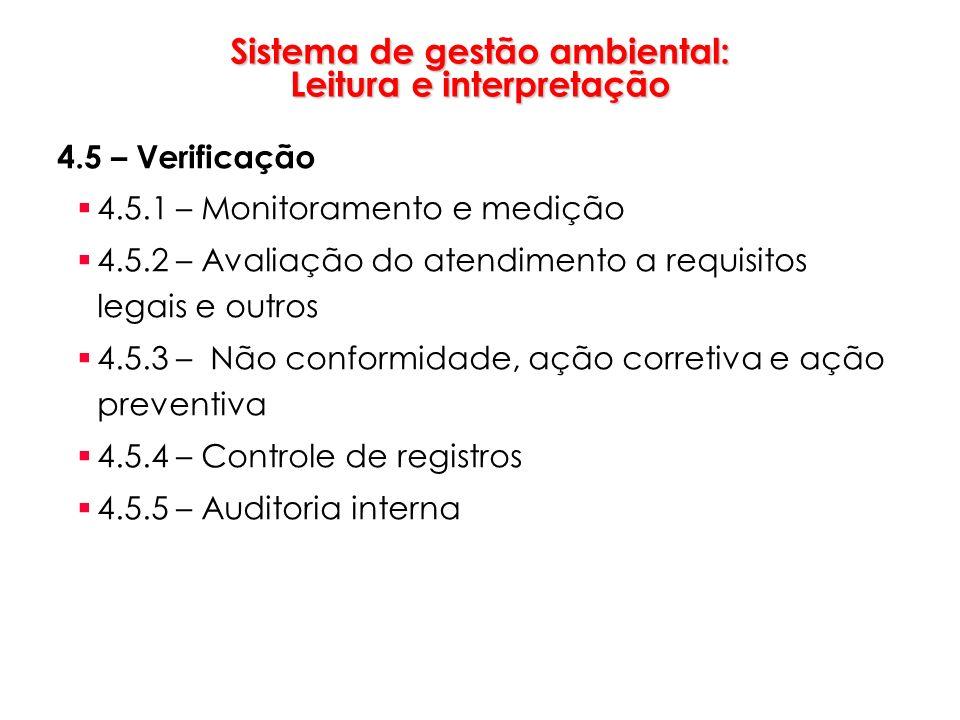 Sistema de gestão ambiental: Leitura e interpretação 4.5 – Verificação 4.5.1 – Monitoramento e medição 4.5.2 – Avaliação do atendimento a requisitos l