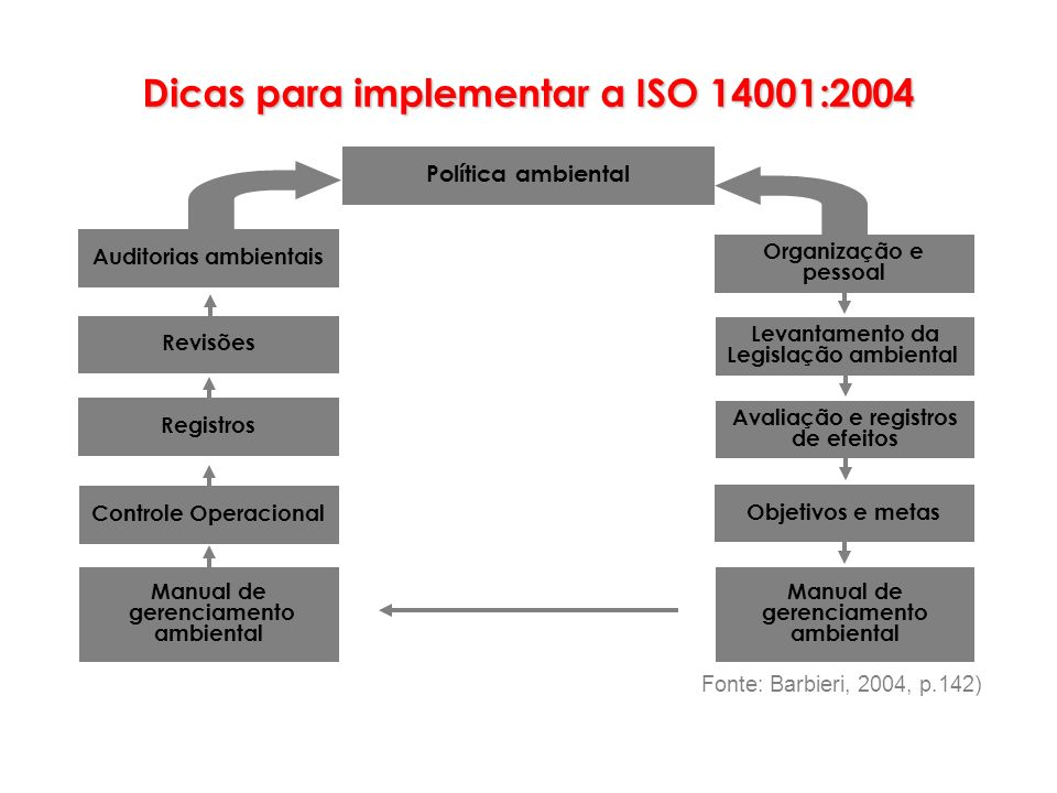 Política ambiental Manual de gerenciamento ambiental Objetivos e metas Avaliação e registros de efeitos Levantamento da Legislação ambiental Organizaç