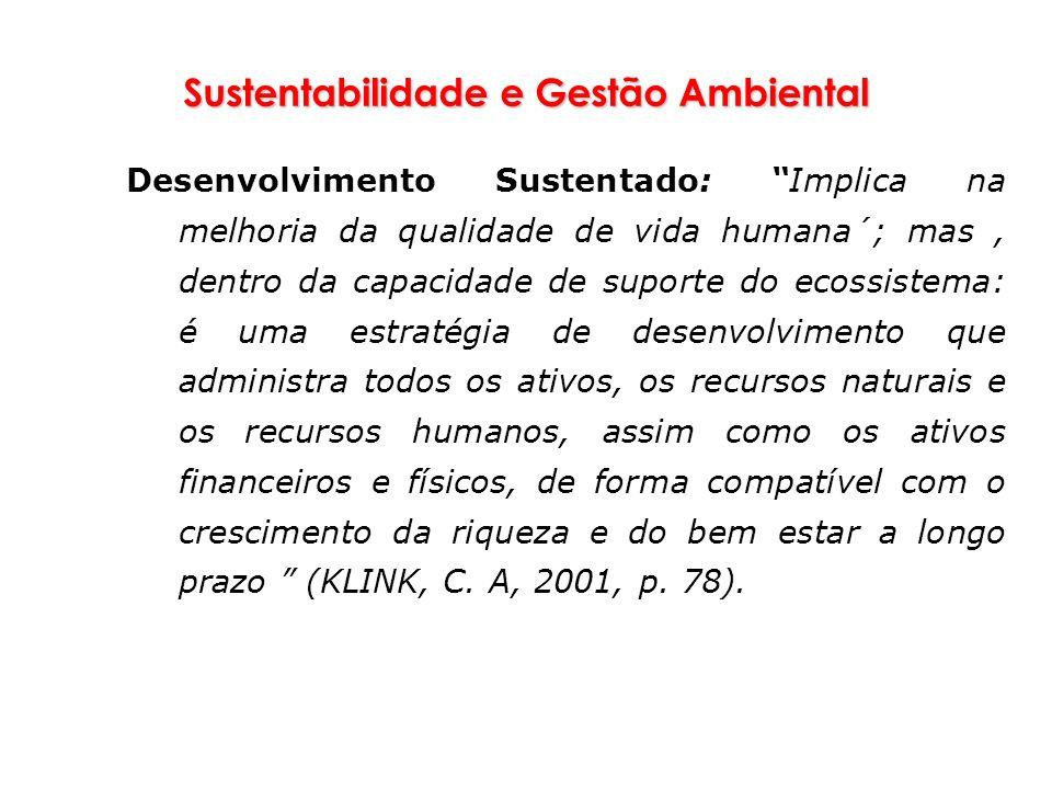 Sustentabilidade e Gestão Ambiental Desenvolvimento Sustentado: Implica na melhoria da qualidade de vida humana´; mas, dentro da capacidade de suporte
