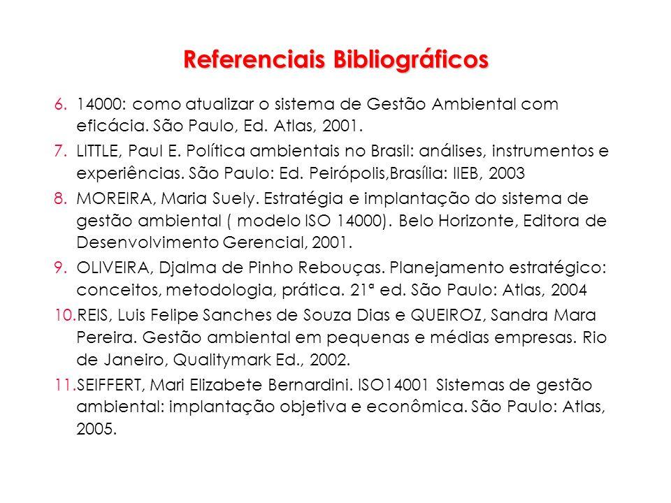 Referenciais Bibliográficos 6.14000: como atualizar o sistema de Gestão Ambiental com eficácia. São Paulo, Ed. Atlas, 2001. 7.LITTLE, Paul E. Política