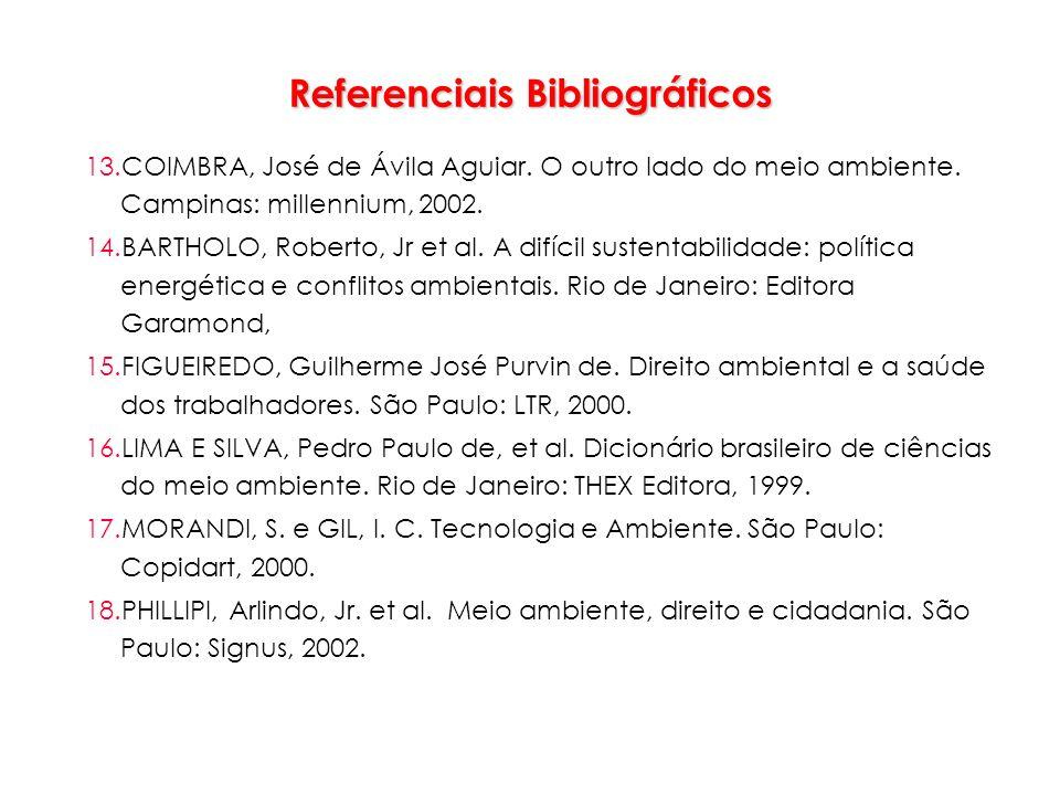 Referenciais Bibliográficos 13.COIMBRA, José de Ávila Aguiar. O outro lado do meio ambiente. Campinas: millennium, 2002. 14.BARTHOLO, Roberto, Jr et a