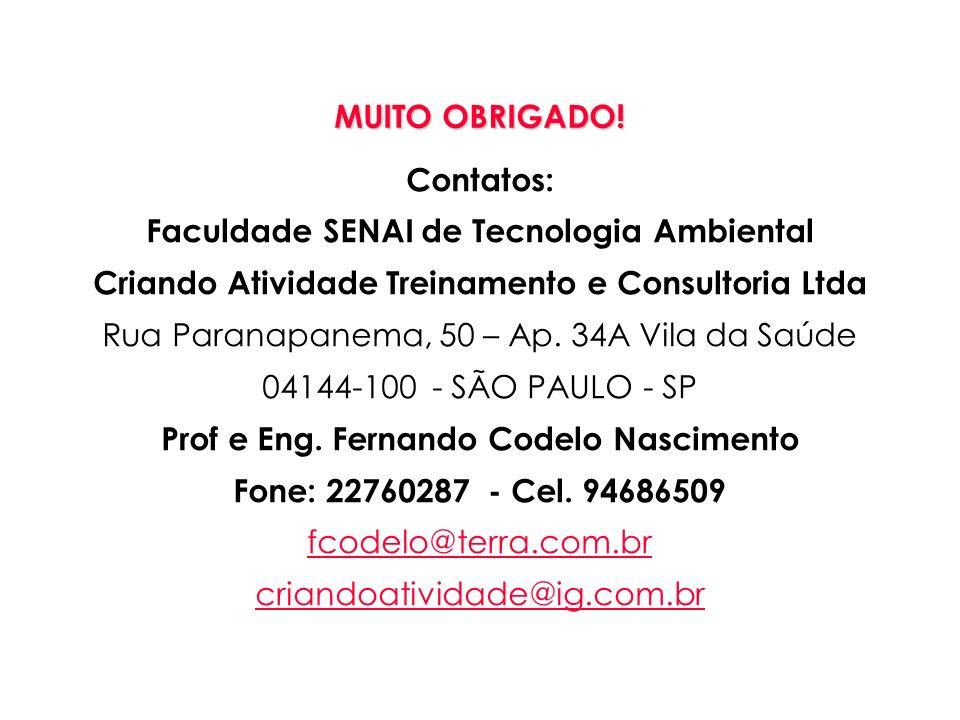 MUITO OBRIGADO! Contatos: Faculdade SENAI de Tecnologia Ambiental Criando Atividade Treinamento e Consultoria Ltda Rua Paranapanema, 50 – Ap. 34A Vila