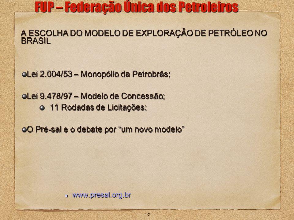 10 FUP – Federação Única dos Petroleiros A ESCOLHA DO MODELO DE EXPLORAÇÃO DE PETRÓLEO NO BRASIL Lei 2.004/53 – Monopólio da Petrobrás; Lei 9.478/97 –