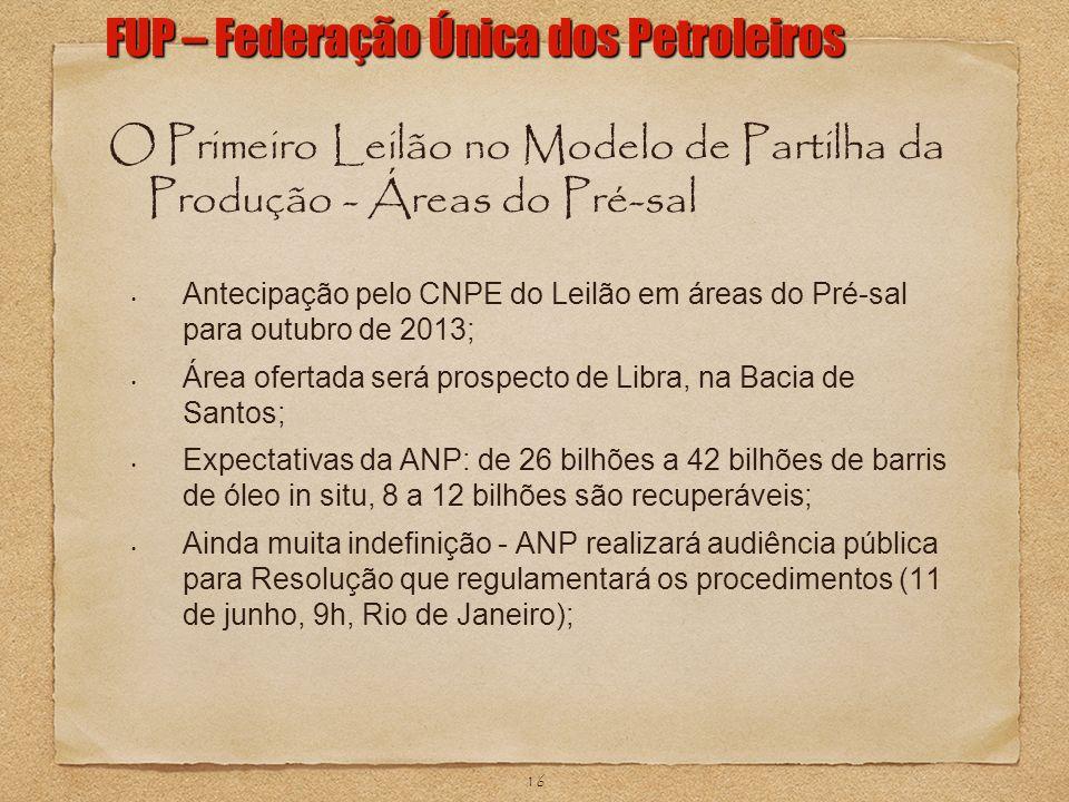 O Primeiro Leilão no Modelo de Partilha da Produção - Áreas do Pré-sal Antecipação pelo CNPE do Leilão em áreas do Pré-sal para outubro de 2013; Área
