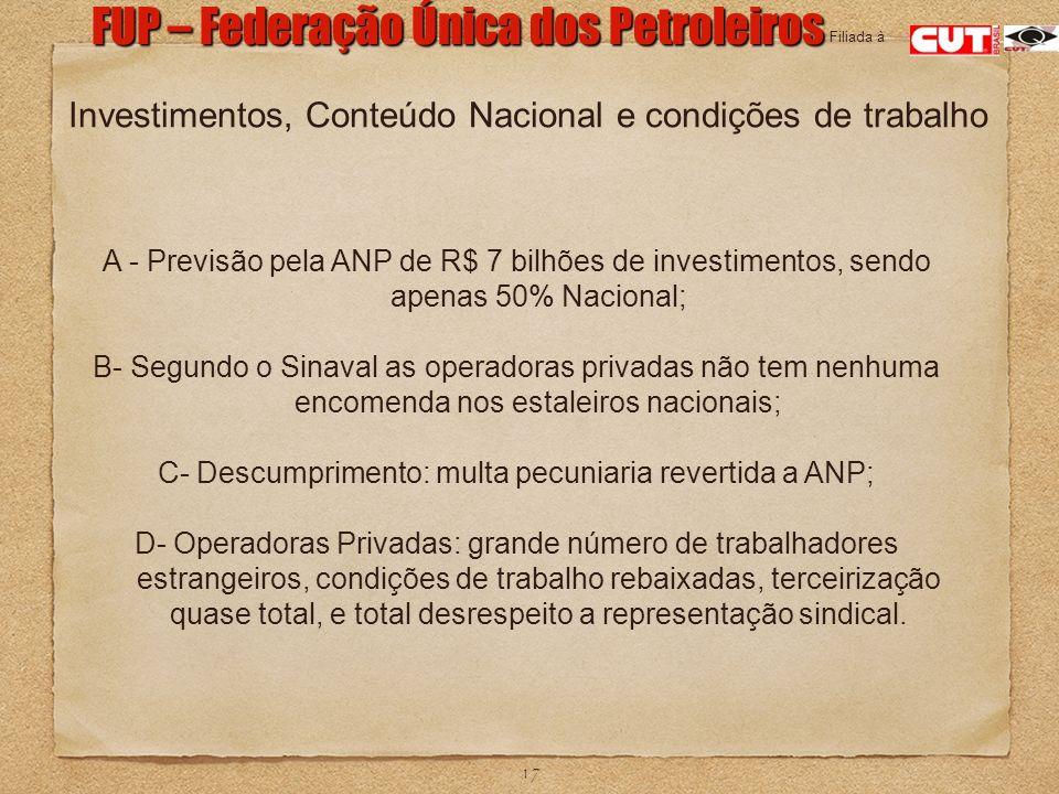 17 FUP – Federação Única dos Petroleiros Filiada à A - Previsão pela ANP de R$ 7 bilhões de investimentos, sendo apenas 50% Nacional; B- Segundo o Sin