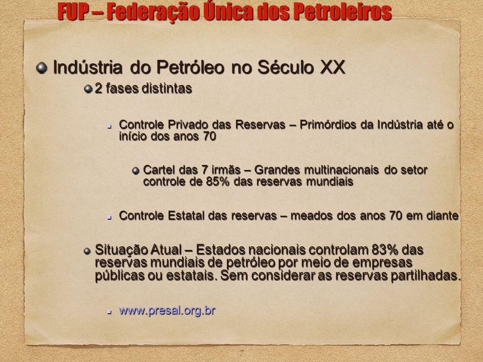 7 Indústria do Petróleo no Século XX 2 fases distintas Controle Privado das Reservas – Primórdios da Indústria até o início dos anos 70 Controle Priva