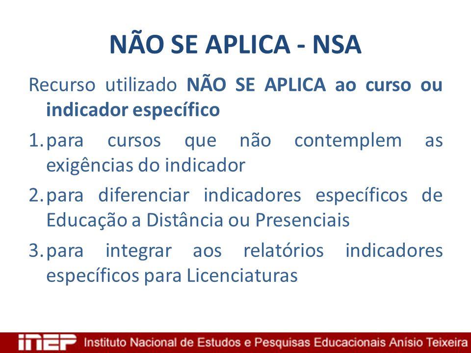 NÃO SE APLICA - NSA Recurso utilizado NÃO SE APLICA ao curso ou indicador específico 1.para cursos que não contemplem as exigências do indicador 2.par
