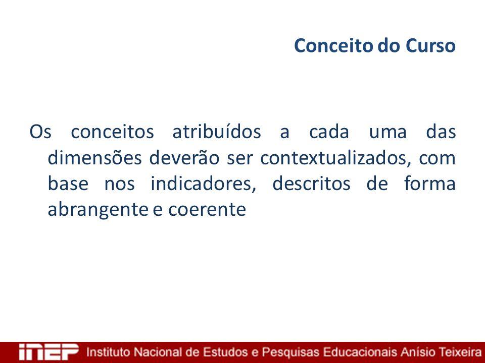 Conceito do Curso Os conceitos atribuídos a cada uma das dimensões deverão ser contextualizados, com base nos indicadores, descritos de forma abrangen