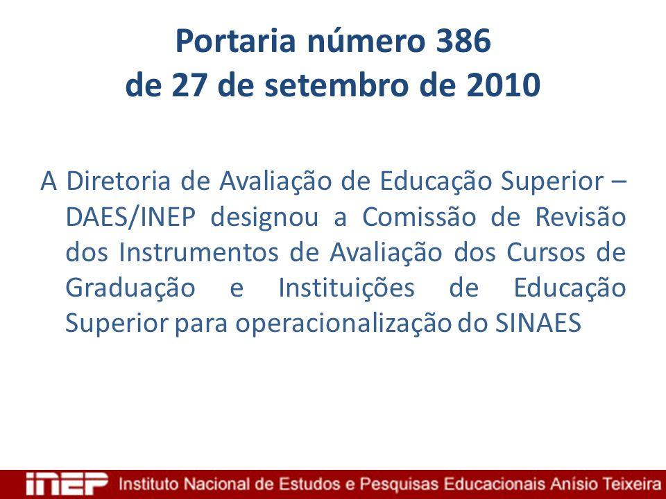Portaria número 386 de 27 de setembro de 2010 A Diretoria de Avaliação de Educação Superior – DAES/INEP designou a Comissão de Revisão dos Instrumento