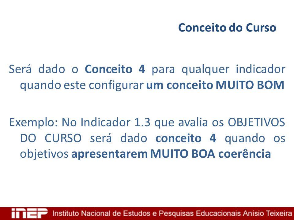Conceito do Curso Será dado o Conceito 4 para qualquer indicador quando este configurar um conceito MUITO BOM Exemplo: No Indicador 1.3 que avalia os