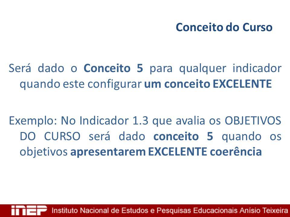 Conceito do Curso Será dado o Conceito 5 para qualquer indicador quando este configurar um conceito EXCELENTE Exemplo: No Indicador 1.3 que avalia os