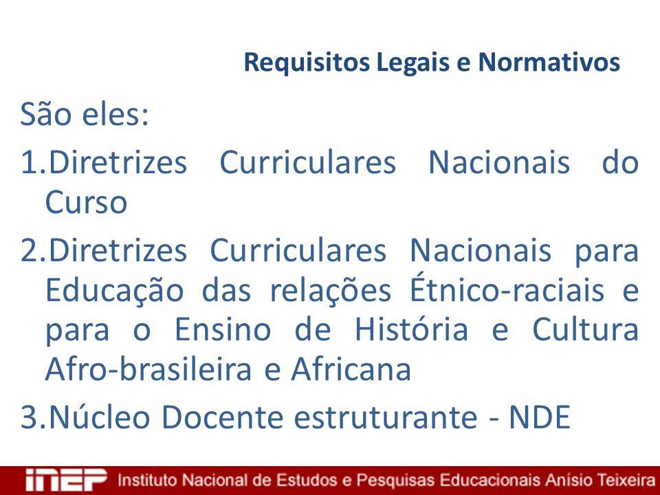 Requisitos Legais e Normativos São eles: 1.Diretrizes Curriculares Nacionais do Curso 2.Diretrizes Curriculares Nacionais para Educação das relações É