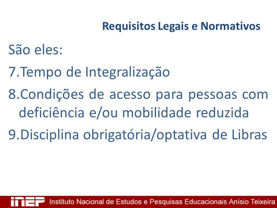 Requisitos Legais e Normativos São eles: 7.Tempo de Integralização 8.Condições de acesso para pessoas com deficiência e/ou mobilidade reduzida 9.Disci