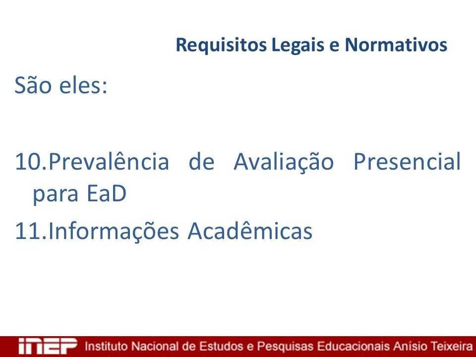 Requisitos Legais e Normativos São eles: 10.Prevalência de Avaliação Presencial para EaD 11.Informações Acadêmicas
