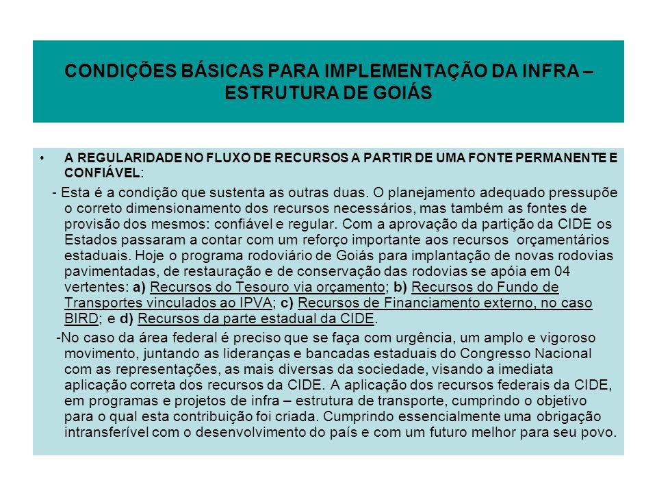 CONDIÇÕES BÁSICAS PARA IMPLEMENTAÇÃO DA INFRA – ESTRUTURA DE GOIÁS A REGULARIDADE NO FLUXO DE RECURSOS A PARTIR DE UMA FONTE PERMANENTE E CONFIÁVEL :