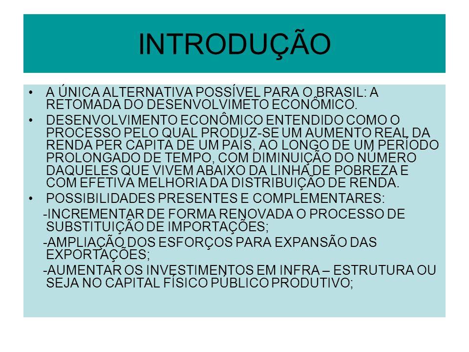 INTRODUÇÃO A ÚNICA ALTERNATIVA POSSÍVEL PARA O BRASIL: A RETOMADA DO DESENVOLVIMETO ECONÔMICO. DESENVOLVIMENTO ECONÔMICO ENTENDIDO COMO O PROCESSO PEL