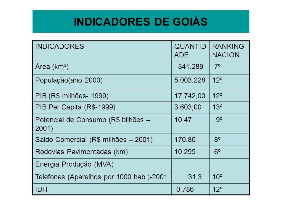 INDICADORES DE GOIÁS INDICADORESQUANTID ADE RANKING NACION. Área (km²) 341.289 7º População(ano 2000)5.003.22812º PIB (R$ milhões- 1999)17.742,0012º P