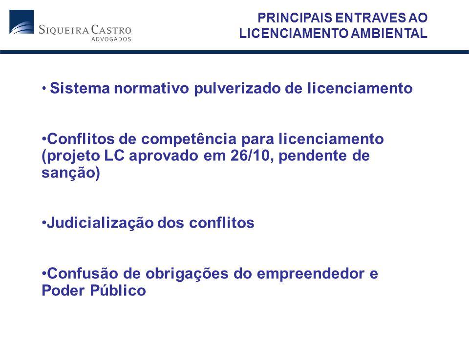 PRINCIPAIS ENTRAVES AO LICENCIAMENTO AMBIENTAL Sistema normativo pulverizado de licenciamento Conflitos de competência para licenciamento (projeto LC