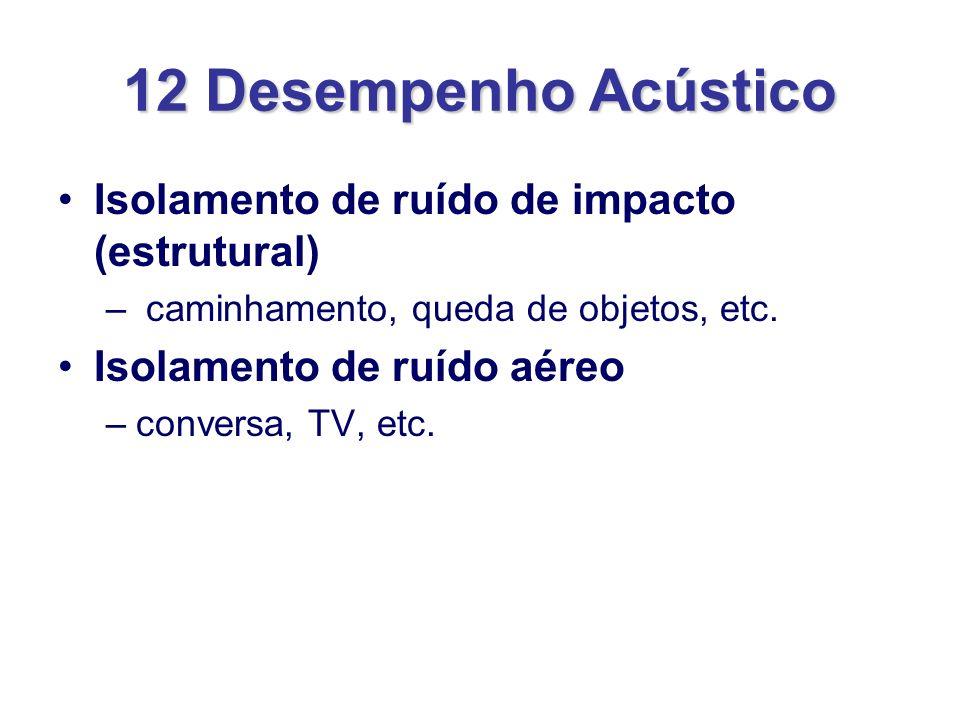 12 Desempenho Acústico Isolamento de ruído de impacto (estrutural) – caminhamento, queda de objetos, etc. Isolamento de ruído aéreo –conversa, TV, etc