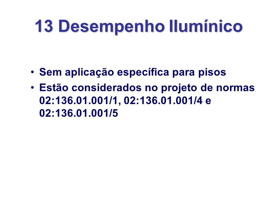 13 Desempenho IIumínico Sem aplicação específica para pisos Estão considerados no projeto de normas 02:136.01.001/1, 02:136.01.001/4 e 02:136.01.001/5