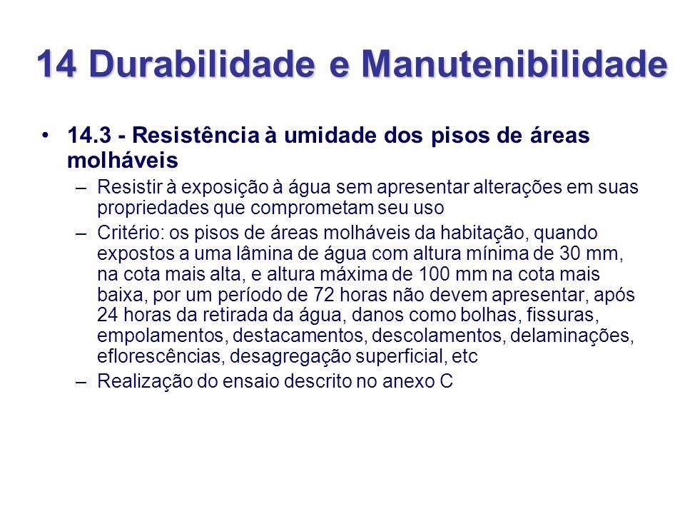14 Durabilidade e Manutenibilidade 14.3 - Resistência à umidade dos pisos de áreas molháveis –Resistir à exposição à água sem apresentar alterações em