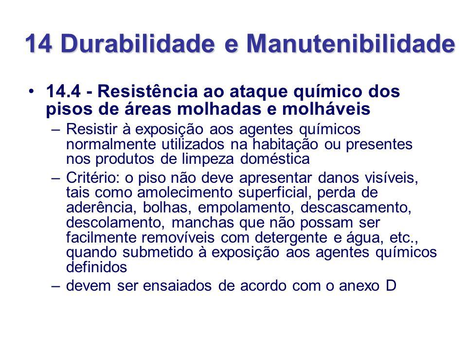 14 Durabilidade e Manutenibilidade 14.4 - Resistência ao ataque químico dos pisos de áreas molhadas e molháveis –Resistir à exposição aos agentes quím