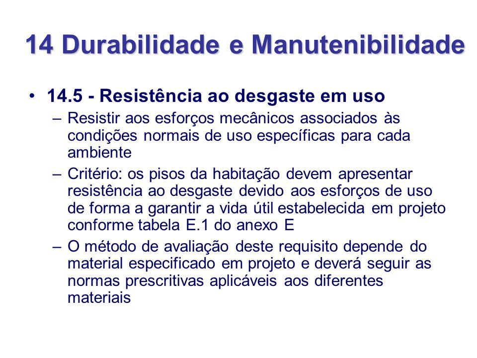 14 Durabilidade e Manutenibilidade 14.5 - Resistência ao desgaste em uso –Resistir aos esforços mecânicos associados às condições normais de uso espec