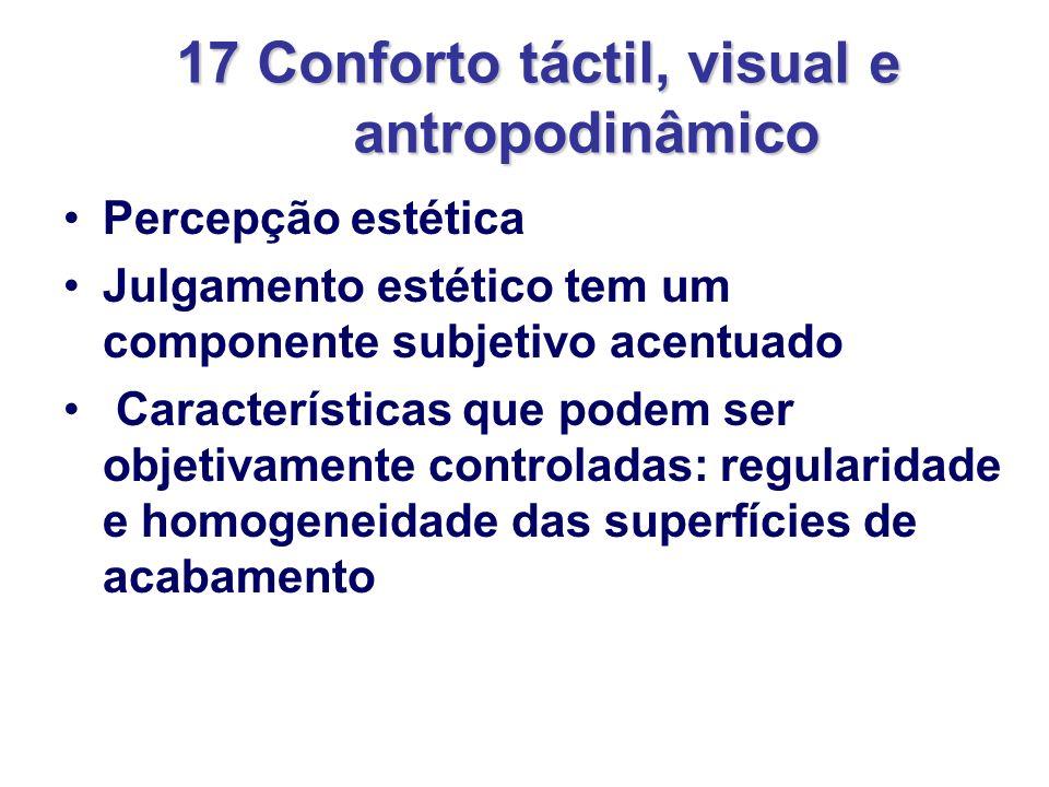 17 Conforto táctil, visual e antropodinâmico Percepção estética Julgamento estético tem um componente subjetivo acentuado Características que podem se
