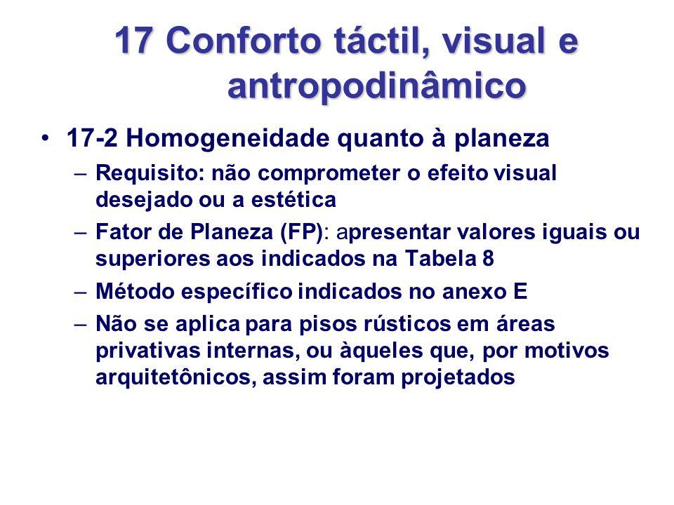 17 Conforto táctil, visual e antropodinâmico 17-2 Homogeneidade quanto à planeza –Requisito: não comprometer o efeito visual desejado ou a estética –F