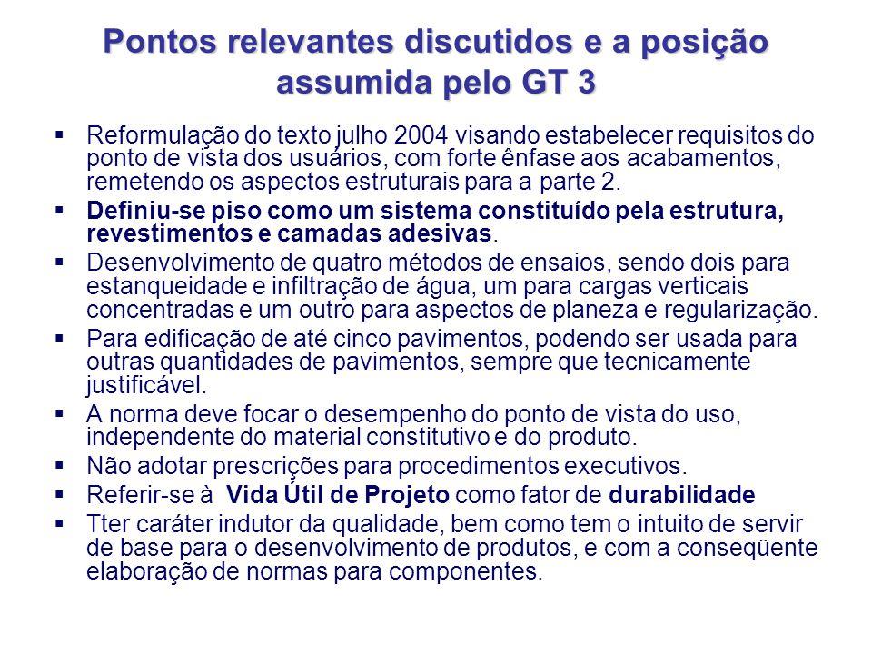 Pontos relevantes discutidos e a posição assumida pelo GT 3 Reformulação do texto julho 2004 visando estabelecer requisitos do ponto de vista dos usuá