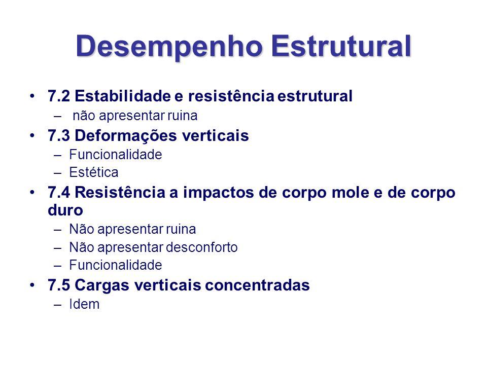 Desempenho Estrutural 7.2 Estabilidade e resistência estrutural – não apresentar ruina 7.3 Deformações verticais –Funcionalidade –Estética 7.4 Resistê