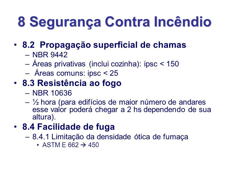 8 Segurança Contra Incêndio 8.2 Propagação superficial de chamas –NBR 9442 –Áreas privativas (inclui cozinha): ipsc < 150 – Áreas comuns: ipsc < 25 8.