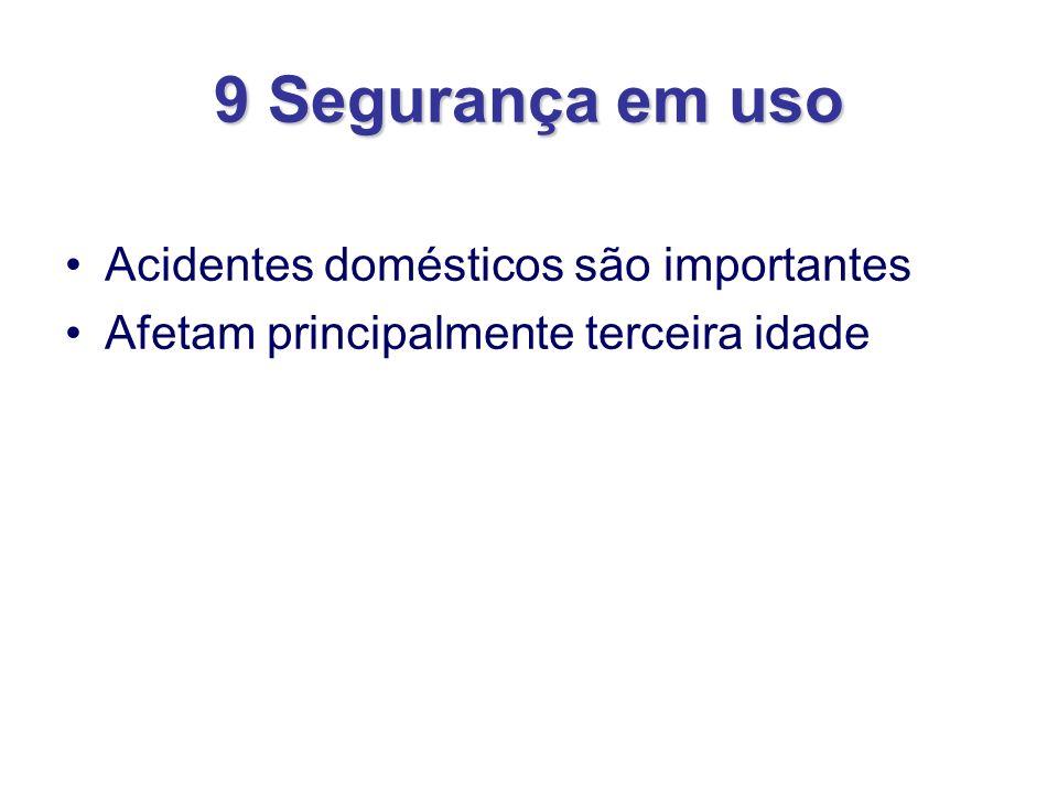 9 Segurança em uso Acidentes domésticos são importantes Afetam principalmente terceira idade