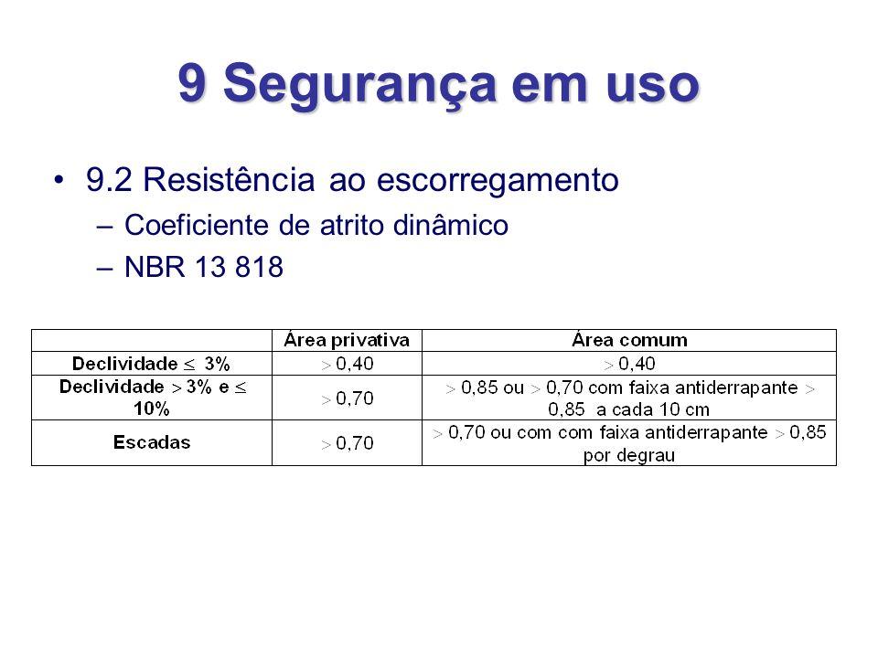 9 Segurança em uso 9.2 Resistência ao escorregamento –Coeficiente de atrito dinâmico –NBR 13 818