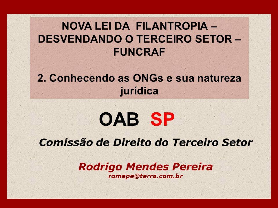 NOVA LEI DA FILANTROPIA – DESVENDANDO O TERCEIRO SETOR – FUNCRAF 2. Conhecendo as ONGs e sua natureza jurídica Comissão de Direito do Terceiro Setor R