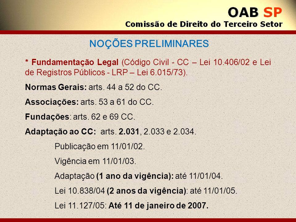 NOÇÕES PRELIMINARES * Fundamentação Legal (Código Civil - CC – Lei 10.406/02 e Lei de Registros Públicos - LRP – Lei 6.015/73). Normas Gerais: arts. 4