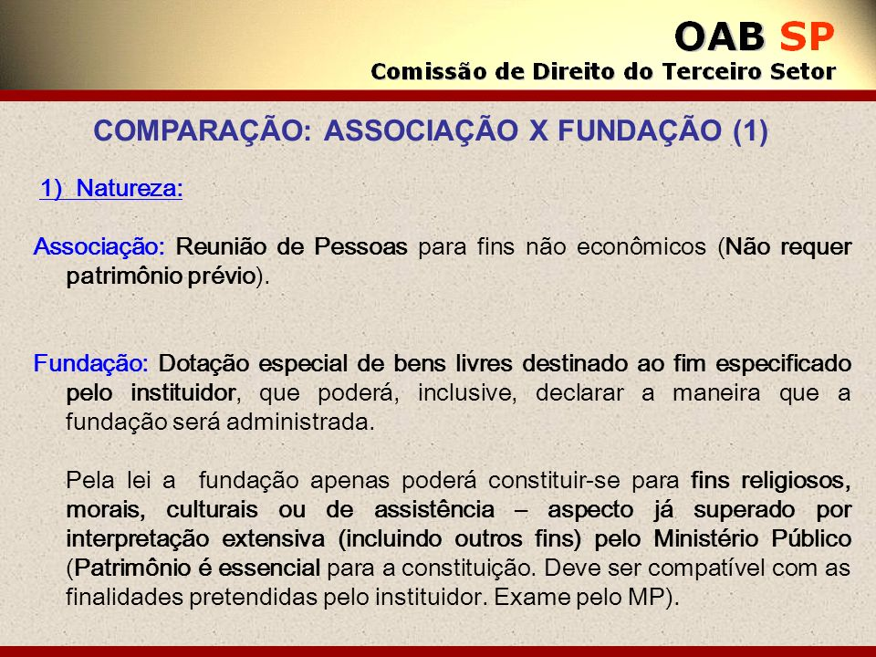 1) Natureza: Associação: Reunião de Pessoas para fins não econômicos (Não requer patrimônio prévio). Fundação: Dotação especial de bens livres destina