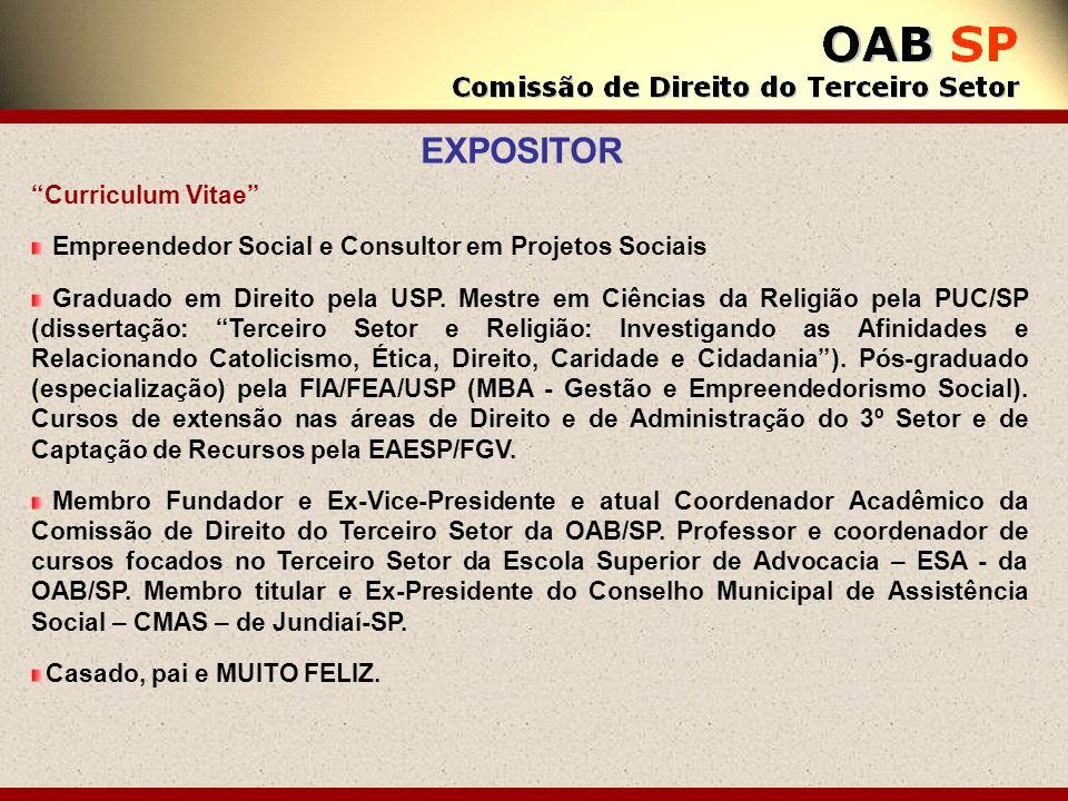 Curriculum Vitae Empreendedor Social e Consultor em Projetos Sociais Graduado em Direito pela USP. Mestre em Ciências da Religião pela PUC/SP (dissert