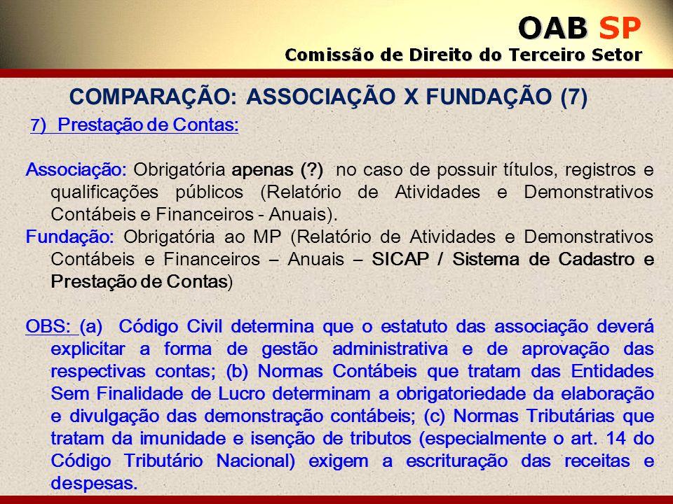 7 ) Prestação de Contas: Associação: Obrigatória apenas (?) no caso de possuir títulos, registros e qualificações públicos (Relatório de Atividades e