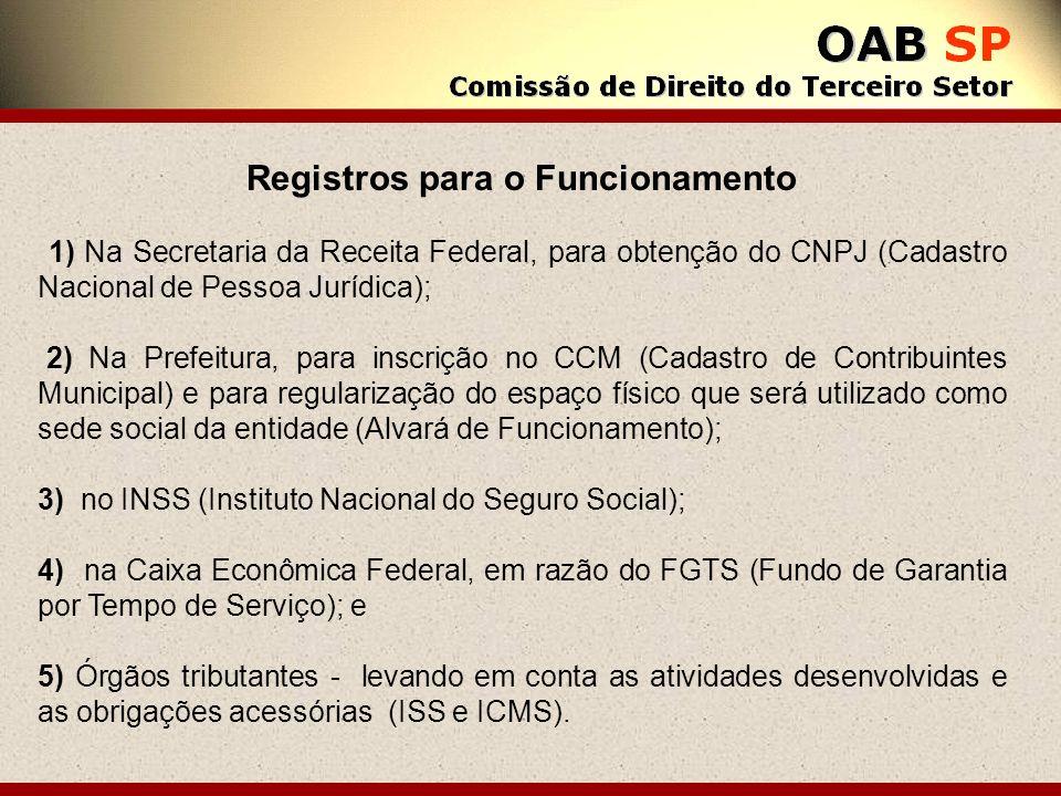 Registros para o Funcionamento 1) Na Secretaria da Receita Federal, para obtenção do CNPJ (Cadastro Nacional de Pessoa Jurídica); 2) Na Prefeitura, pa