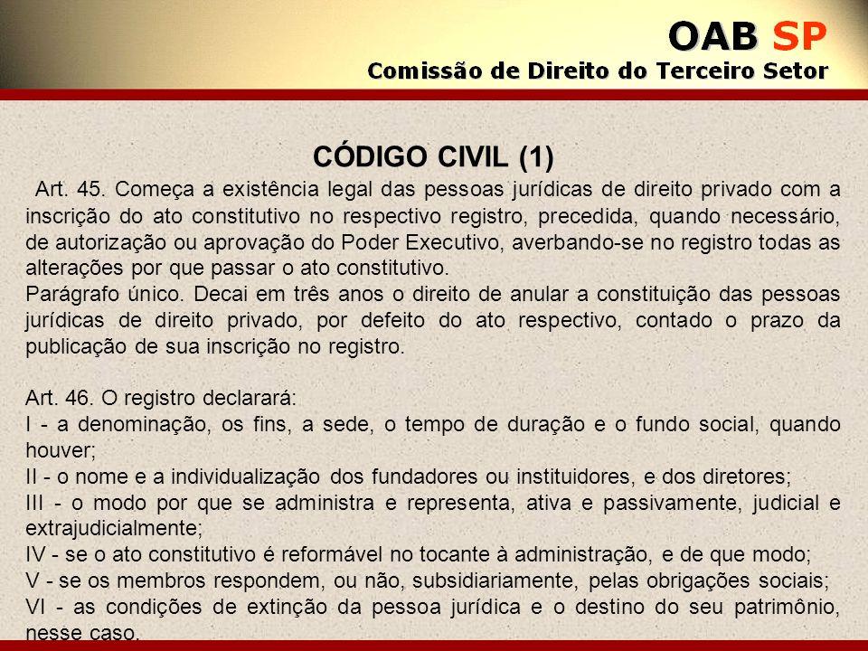 CÓDIGO CIVIL (1) Art. 45. Começa a existência legal das pessoas jurídicas de direito privado com a inscrição do ato constitutivo no respectivo registr