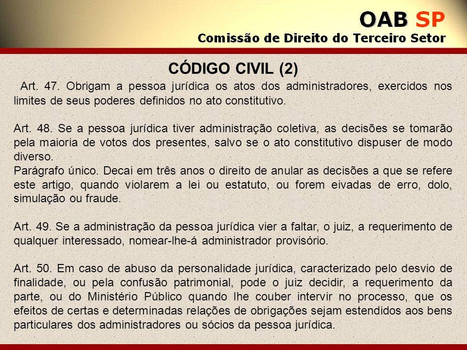 CÓDIGO CIVIL (2) Art. 47. Obrigam a pessoa jurídica os atos dos administradores, exercidos nos limites de seus poderes definidos no ato constitutivo.